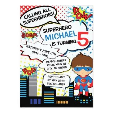 Kids Superhero Birthday Party Invitations Boy Hero