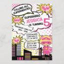 kids superhero birthday party invite girl hero