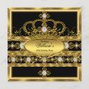 king prince queen royal gold diamond crown party invitation
