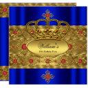 king prince royal blue gold red crown birthday invitation