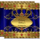 king prince royal blue regal red crown birthday 2 invitation