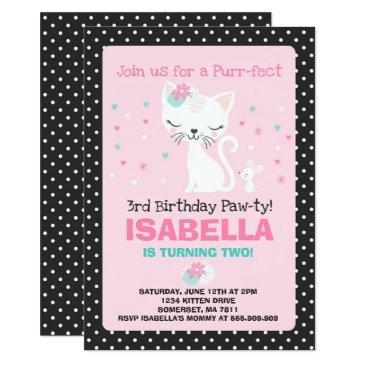 kitten birthday invitation kitty cat birthday