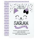 kitty cat birthday invitation, purple & black invitation