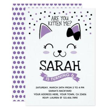 kitty cat birthday invitations, purple & black invitations