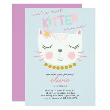 kitty cat kids birthday invitations