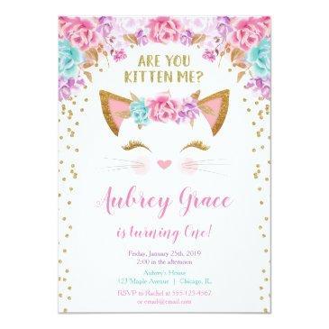 kitty cat kitten pink gold glitter birthday party invitations