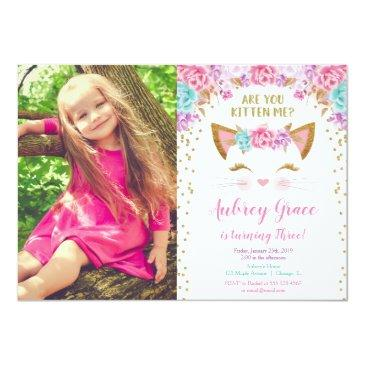 kitty cat kitten pink gold glitter birthday photo invitation