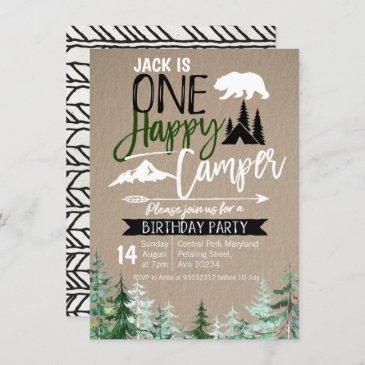 kraft camper 1st birthday forest camping party invitation