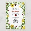 lady bugs + wildflowers girls birthday party invitation