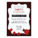 ladybug birthday invitations black red polkadot