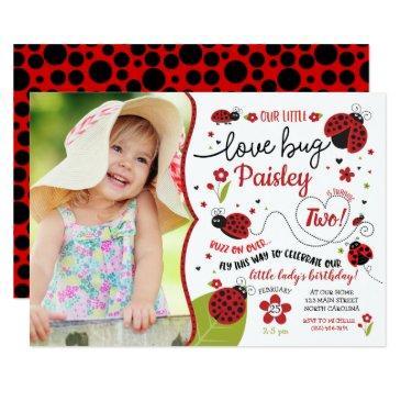 ladybug birthday invitation, lady love bug invite