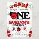 ladybug invitation for 1st birthday