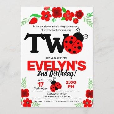ladybug invitation for 2nd birthday
