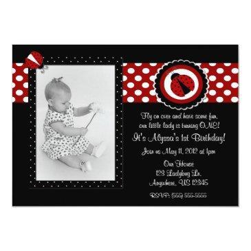 ladybug photo birthday inviation invitations