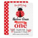 ladybug red and black polka dot birthday invitation