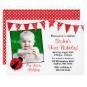 ladybug red black photo birthday invitations