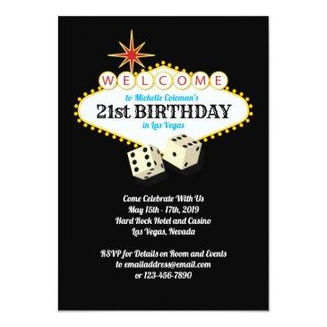 Small Las Vegas Marquee Birthday Party Invitations Front View