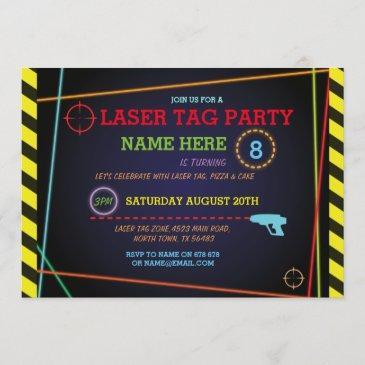 laser tag birthday party zone neon invitation
