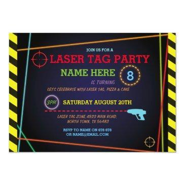 laser tag birthday party zone neon invitations