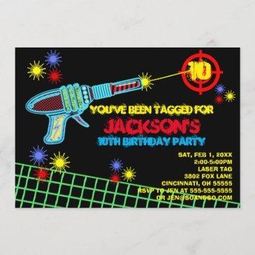 laser tag custom birthday party invitation