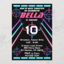 laser tag girls neon pink, blue beams birthday invitation
