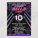 laser tag girls neon pink purple beams birthday invitation