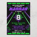 laser tag neon green & purple beams birthday party invitation