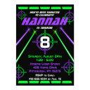 laser tag neon green & purple beams birthday party invitation