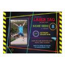laser tag photo birthday neon invitation