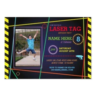 laser tag photo birthday neon invitations