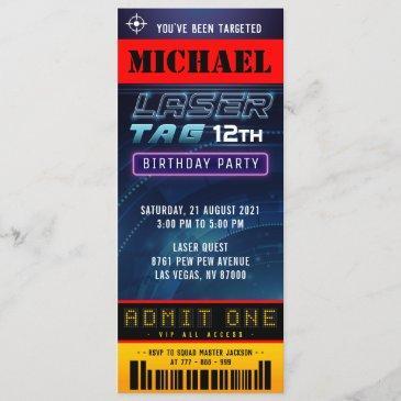 laser tag ticket pass birthday party invitation
