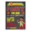 latino superhero invitations. kid birthday party invitation