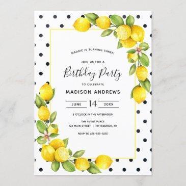 lemon birthday invitation