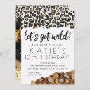leopard print let's get wild gold glitter birthday invitation