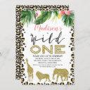 leopard skin wild one birthday invitation