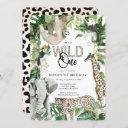 leopard wild one first birthday invitation
