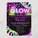 let's glow crazy neon glowing birthday party invitation