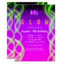 let's glow purple pink neon green sweet 16 party invitation