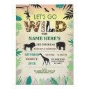 let's go wild jungle birthday party safari zoo invitation