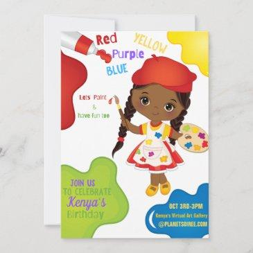 lets paint birthday invitation for girl