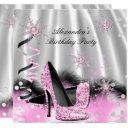 light pink high heels silver birthday party invitation