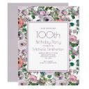 lilac purple watercolor floral 100th birthday invitation