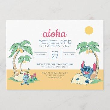 lilo and stitch beach birthday invitation