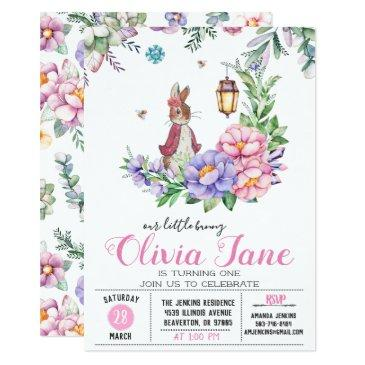 little bunny spring birthday invitation