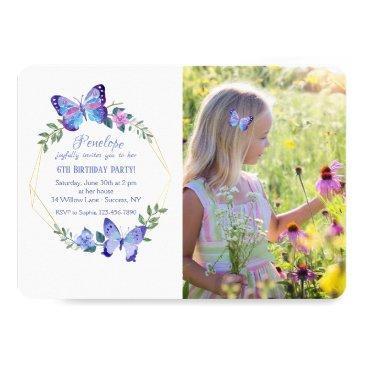 little butterfly photo invitation