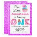 little cupcake purple glitter 1st birthday one invitation