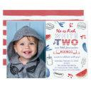 little firecracker 2nd birthday party picture invitation