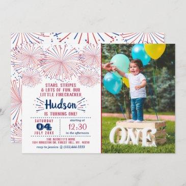 little firecracker 4th of july 1st birthday photo invitation