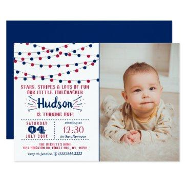 Little Firecracker 4th Of July Photo 1st Birthday Invitations