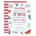 little firecracker red white blue 2nd birthday invitation